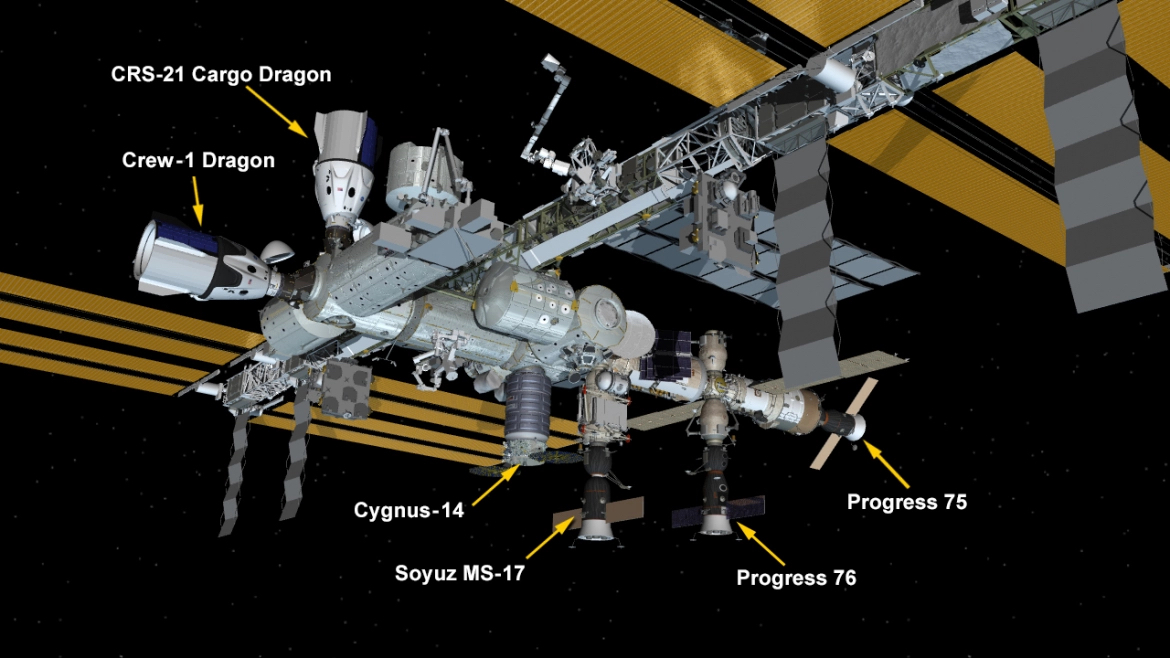 Station configuration following arrival of CRS-21 – credit NASA